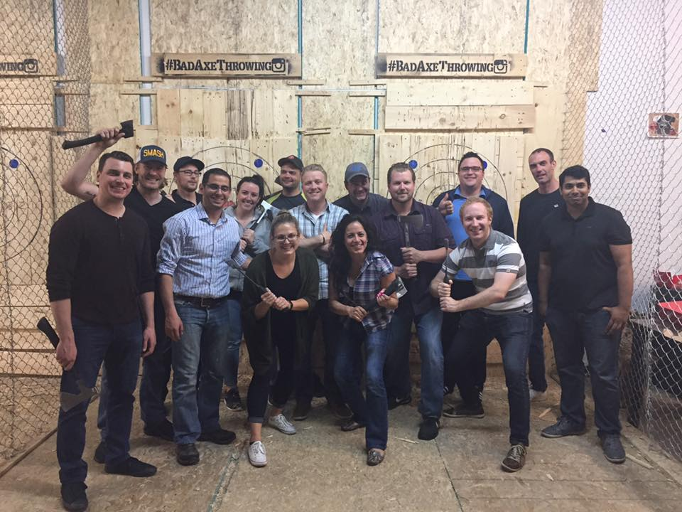 The Green Team at Bad Axe Throwing!